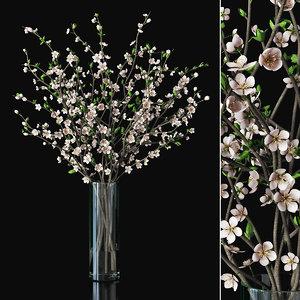 plum branches vase 3D