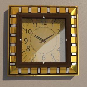 3D square wall clock decoration model