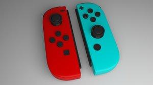 3D model nintendo switch controller joy-con