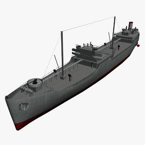 3D navy t2 tanker polys model
