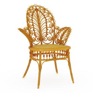 3D wicker chair victorian parlor