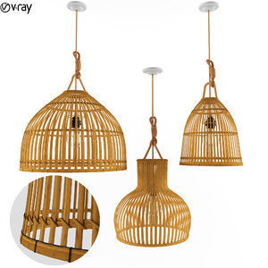3D model wicker rattan lamp lights