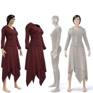 3D character female secretary clothing model