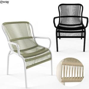 loop dining chair rope 3D model