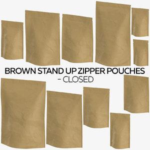 3D brown stand zipper pouches model
