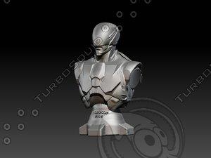 3D model bust robocop 2014