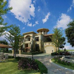villa exterior patio greenery 3D model