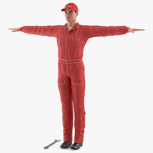 auto mechanic t-pose 3D model