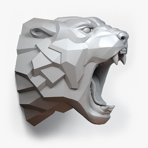 angry cheetah stylised animal head model