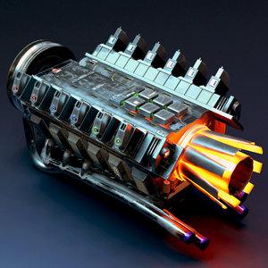 sci-fi engine v12 jet 3D