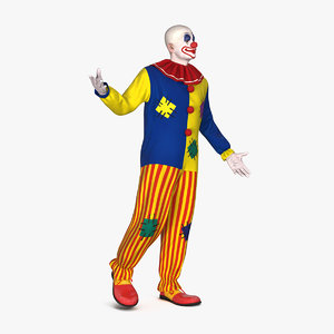 bald clown standing pose 3D model
