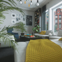 Living Room - PBR Cinema4D Octane Render + Formats
