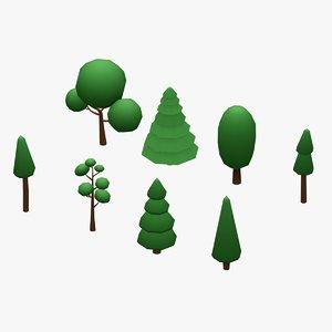 3D tree handpaint gameready pack model