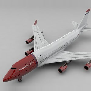3D boeing 747 norwegian air