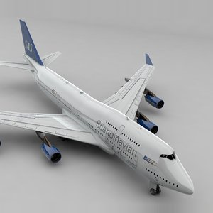 boeing 747 scandinavian airlines 3D model