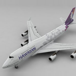 3D model boeing 747 hawaiian airlines