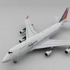 boeing 747 philippines airlines 3D model