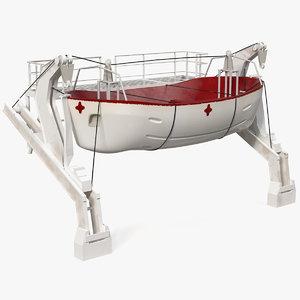 hydraulic rescue boat davit 3D model