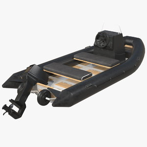 3D model inflatable military motor boat