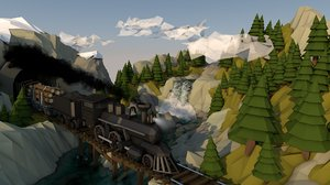 train wilderness mountains waterfall 3D model
