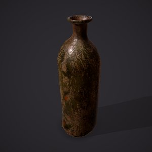 3D medieval style glass bottle