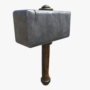 3D model stylized hammer
