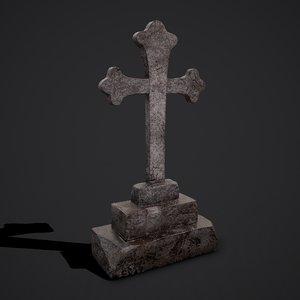 3D cross grave stone