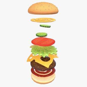 3D hamburger burger