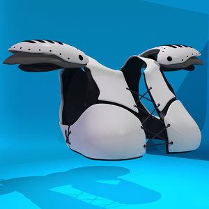 3D fictional sports armor lacrosse