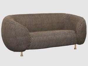 3D lucien sofa oblique ebony