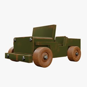 wood toy jeep 3D model