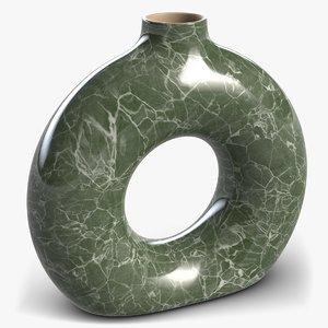 3D model vase torus green marble