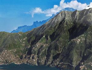 positano italy mountain landscape 3D model