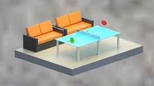 isometric table sofa 3D model