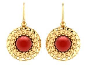3D vintage earrings pearl bloom model