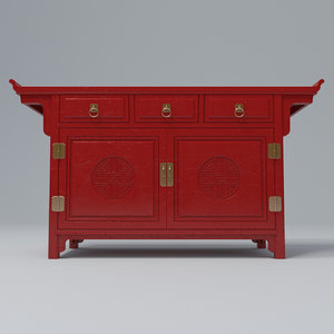 3D chinese red lacquered cabinet