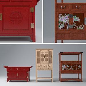 antique cabinet set 3D