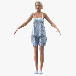 3D elderly woman pijama rigged