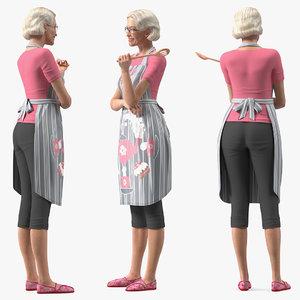 3D elderly woman wearing kitchen