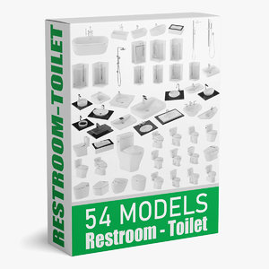 54 showers lavatories toilets 3D model