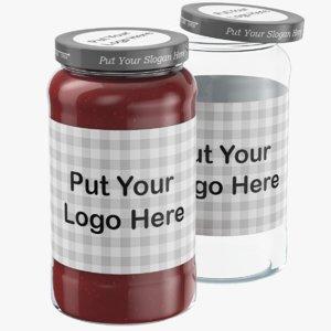 3D editable glass jar jam