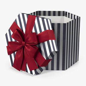 hexagon striped gift box 3D model
