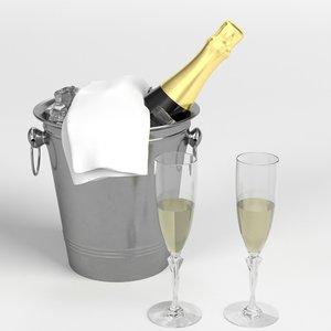3D champagne set