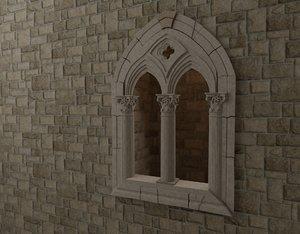 3D classical mullioned window model