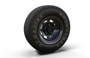 muscle car highpoly wheel tire 3D