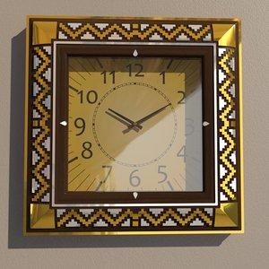 square wall clock decoration 3D model