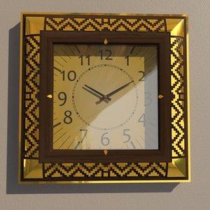 square wall clock decoration 3D