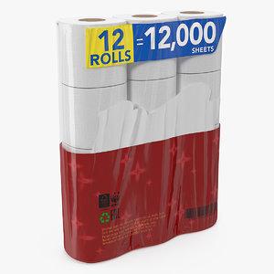 toilet paper pack 12 3D model
