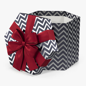 3D hexagon silver chevron gift box