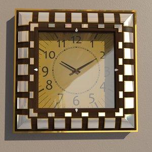 3D model square wall clock decoration